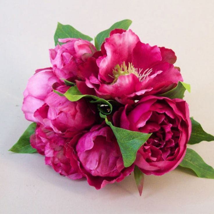 Artificial Peony Flowers Hand Tied Posy Hot Pink - P157 J2