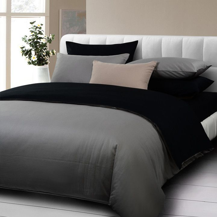 Dark Grey Comforter Sets | 4pcs bedding set queen size 100%cotton twill Gray black comforter set ...