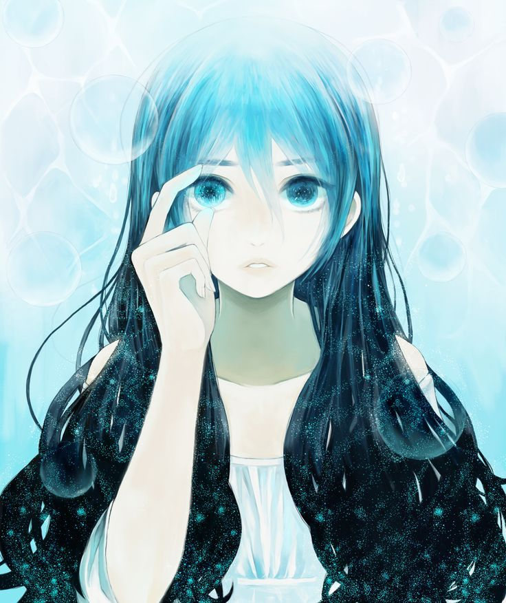 anime girl blue hair green eyes szukaj w google