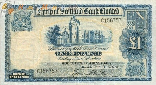 "(№P-S644a.1) Банкнота Шотландия 1940 год 1 Pound Sterling ""Британский фунт стерлингов"""