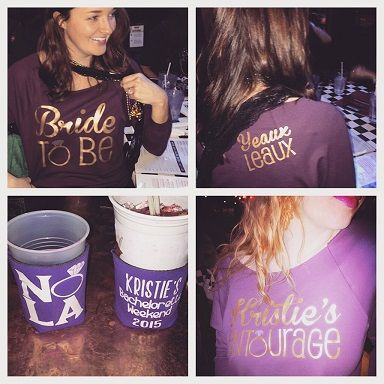 Custom bridal party koozies and shirts for a new orleans for Bachelorette party ideas new orleans