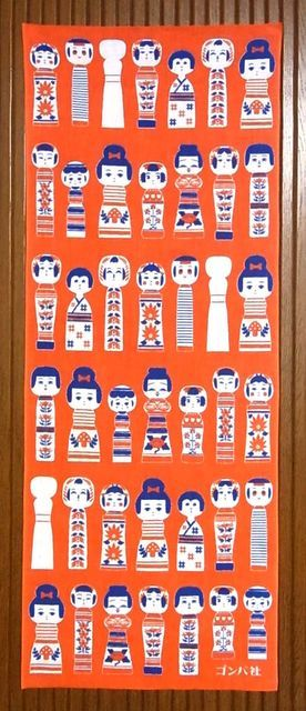 #ikleesdewereld社コケノワ 手ぬぐい(赤)Japanese tenugui (towel)