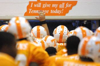 The players all slap this sign on their way onto the field every Saturday home game. Love it!