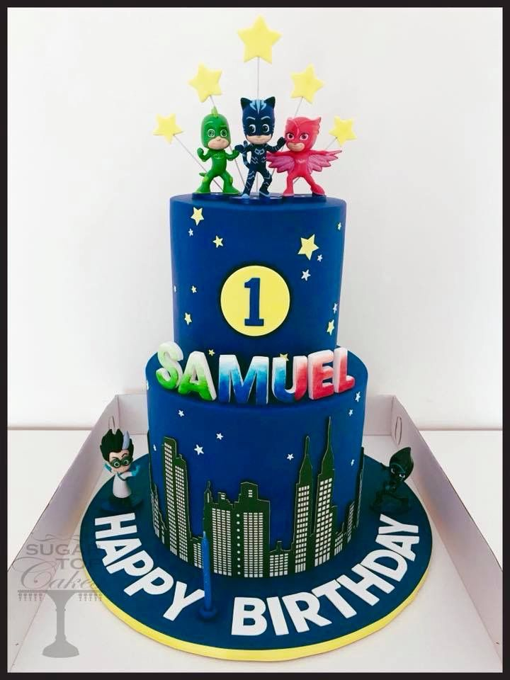 PJ Masks Deluxre Birthday Cake Topper Set  Featuring CATBOY and ***BRAND NEW***