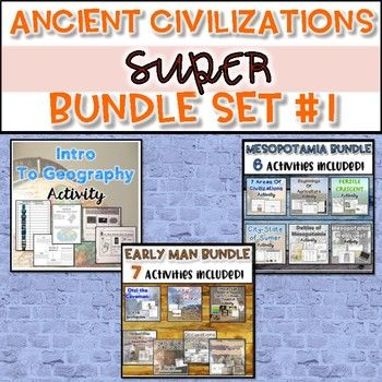 THIS BUNDLE IS AT A 30% DISCOUNT! Here is what is included in this SUPER bundle: ♦Introduction to Geography Activity ♦Early Man Unit Bundle ♦Mesopotamia Unit Bundle...