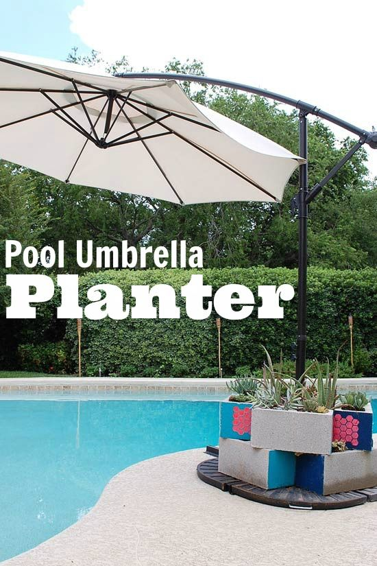 So Fun Diy Pool Umbrella Weight Planter Using Stencil1