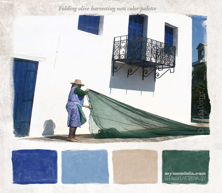 Olive harvesting nets color palette | My Messinia