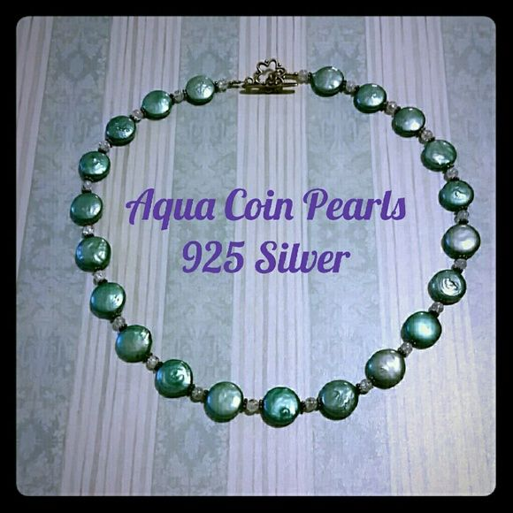 Aqua Coin Pearl Necklace, Sterling Silver Handmade aqua Coin Pearl necklace with crystal bead separators and sterling silver metal. One of a kind; artist is from Florida. Price is firm unless bundled. Jewelry Necklaces