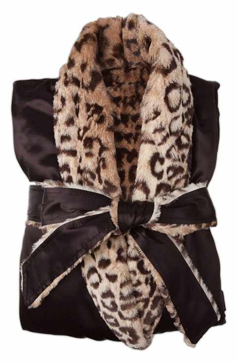 1078ed4caa Giraffe at Home Faux Fur   Satin Robe