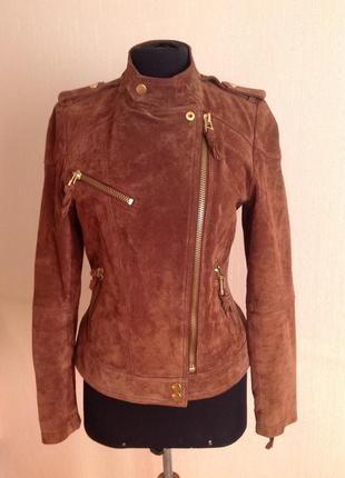 Кожаная замшевая куртка косуха