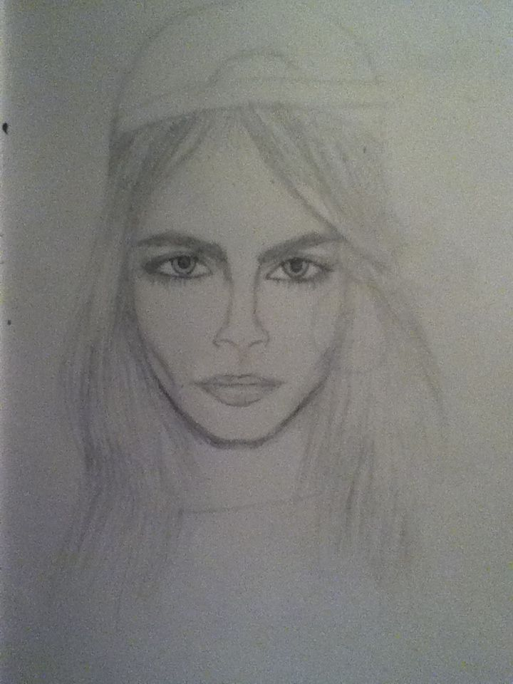 drew Cara Delevingne for my art homework ^_^  not the best but i tried
