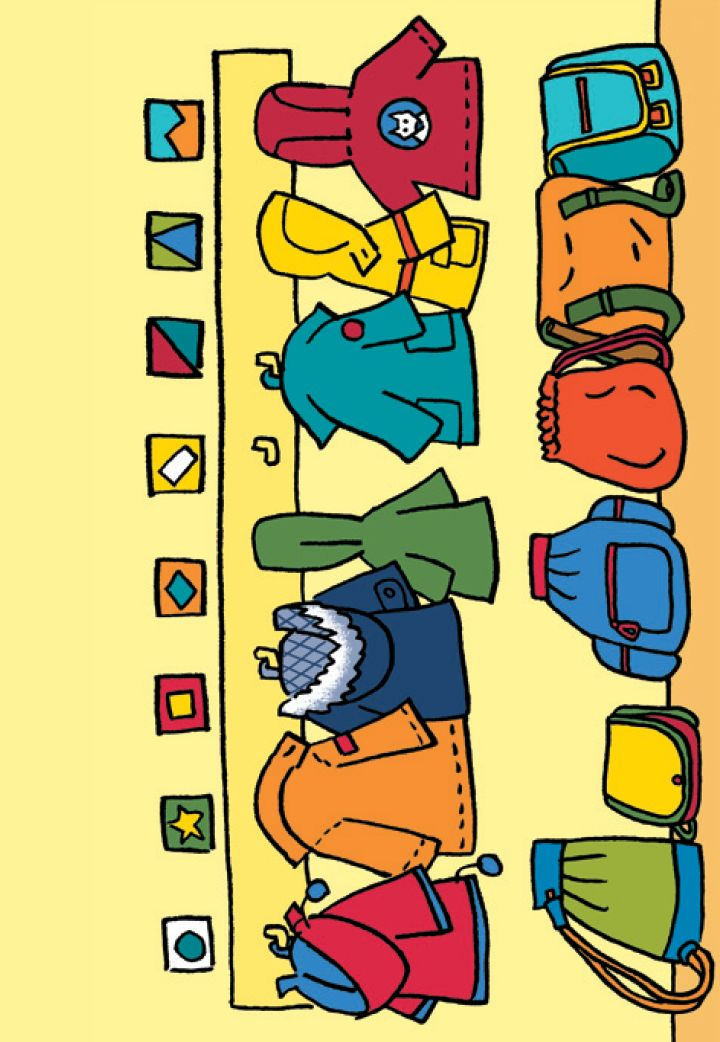 Thema klas, vriendjes, terug naar school - vertellen met een boekje - prenten - gratis download - 2e kleuterklas