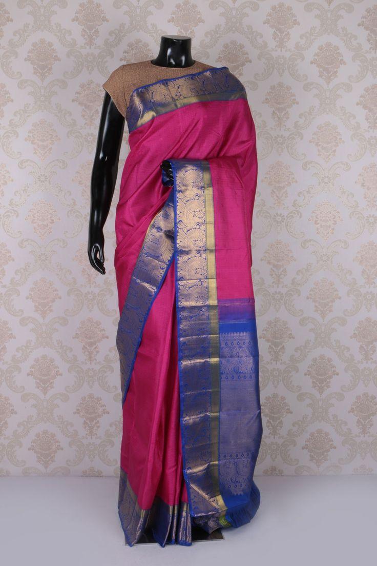 Dark #pink kanchipuram silk suave #saree with royal #blue & #gold border -SR11597
