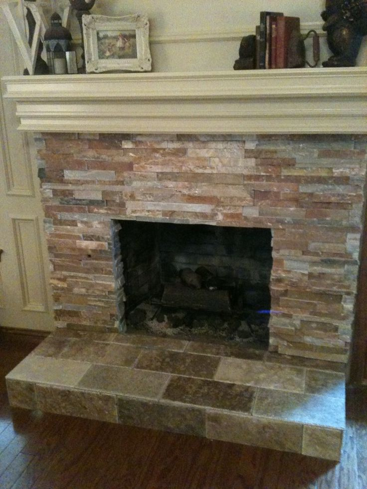 Tile over brick fireplace remodel den remodel - Tiling a brick fireplace ...
