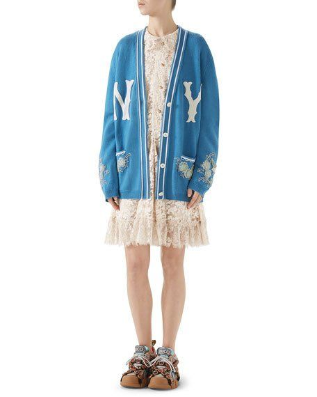 73f99966c Gucci NY Yankees V-Neck Long-Sleeve Wool Cardigan with Appliques and  Matching Items & Matching Items   Neiman Marcus
