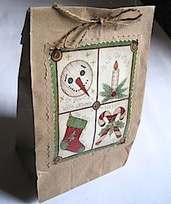 Use old Christmas card front to decorate paper lunch bag from Crafty journal