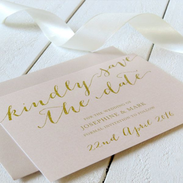 Elegant Blush Pink and Gold Save The Date Cards - Modern Script - Free Colour Changes - Commercially Printed by PeachPerfectCards on Etsy