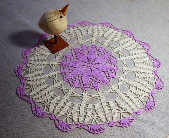 Ready to ship CROCHET DOILY with STAR pattern Cream &
