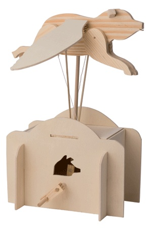 The Pathfinders Flying Pig Automata is an mechanical toy that moves with cams, levers and linkages.