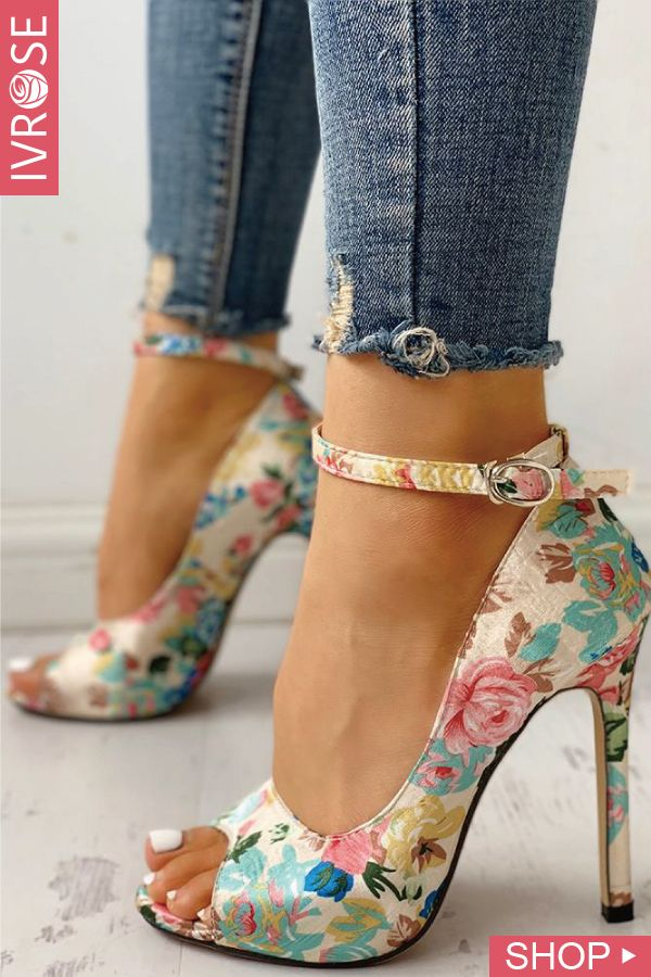 bfc9335d3342ac Floral Peep Toe Ankle Strap Heeled Sandals