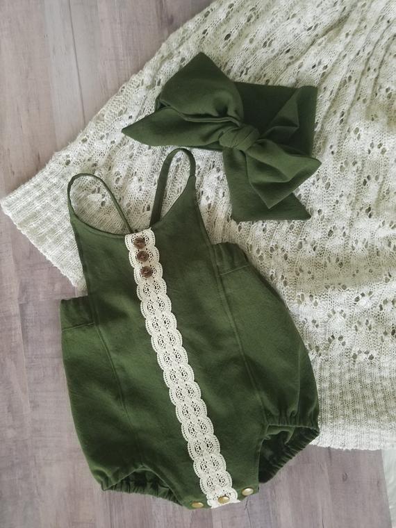 Baby Mädchen Spielanzug Baby Mädchen Boho Strampler-Grün