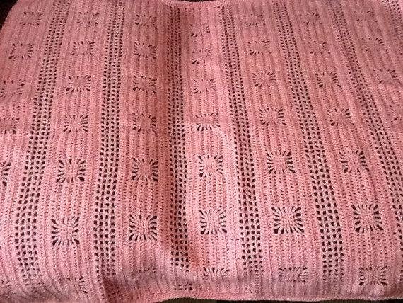 Pink crocheted girls  snowflake blanket by Happilyevercrafts, £10.50