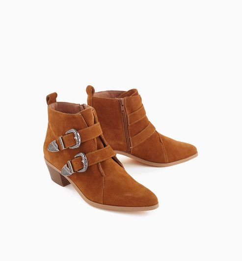 f17541f3493 Botines western camel - Promod