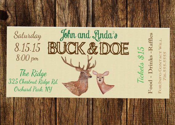 Rustic Buck and Doe, Stag and Doe, Jack and Jill, Watercolor Ticket - Raffle - Entry