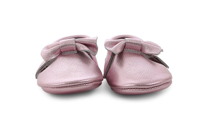 leather moccasins in metallic pink