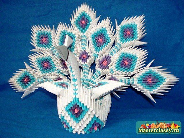 Пошаговая инструкция модульного оригами павлин