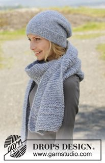 """Knitted DROPS hat and scarf in garter st with dropped sts in """"Air"""" or """"Brushed Alpaca Silk"""" or in 2 threads in """"Alpaca"""". ~ DROPS Design"""