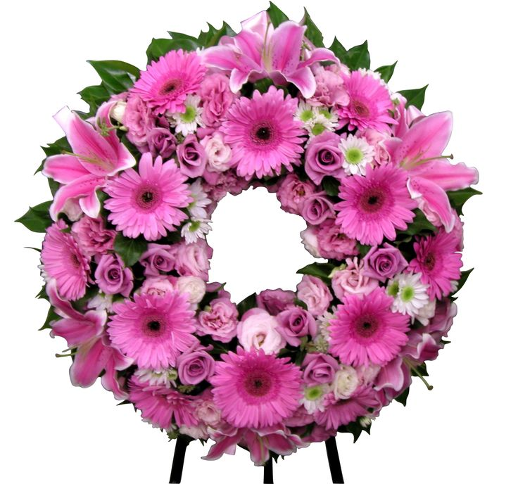 Pink Wreath including lilies, gerberas, roses, chrysanthemum, and lisianthus - Donvale Flower Gallery