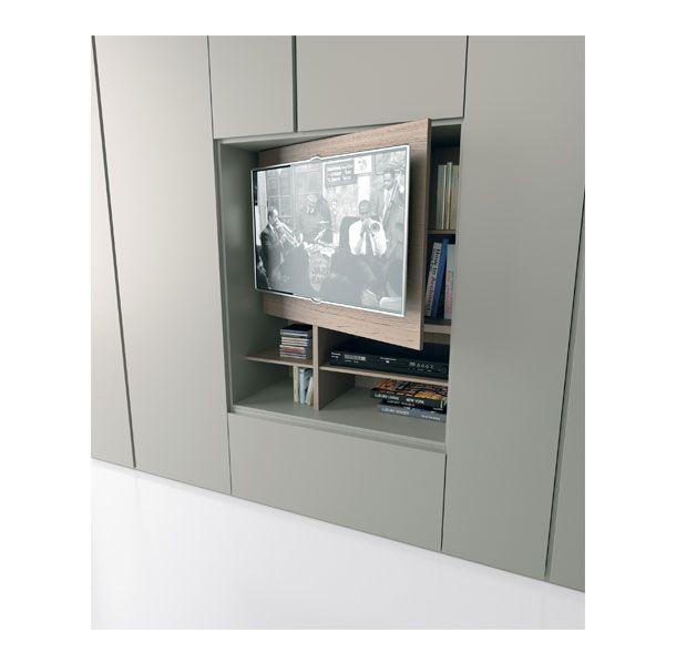 GRAFIK Caccaro.  Dettaglio modulo tv. L'ampia cassettiera fa da base al pannello porta-schermo che si apre su un pratico vano.