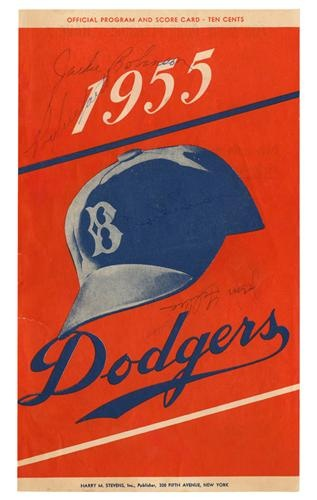 1955 JACKIE ROBINSON AND ROY CAMPANELLA SIGNED PROGRAM COVER: Color