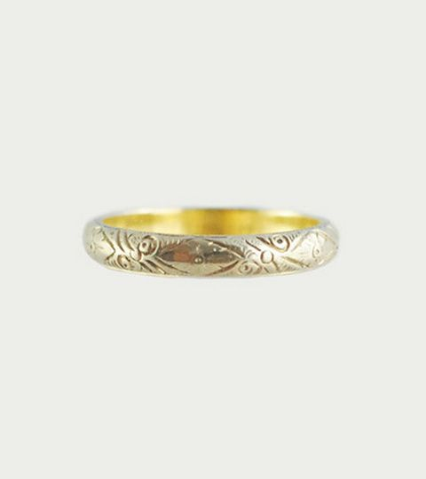 Antique Etched Floral Platinum Ring, $700