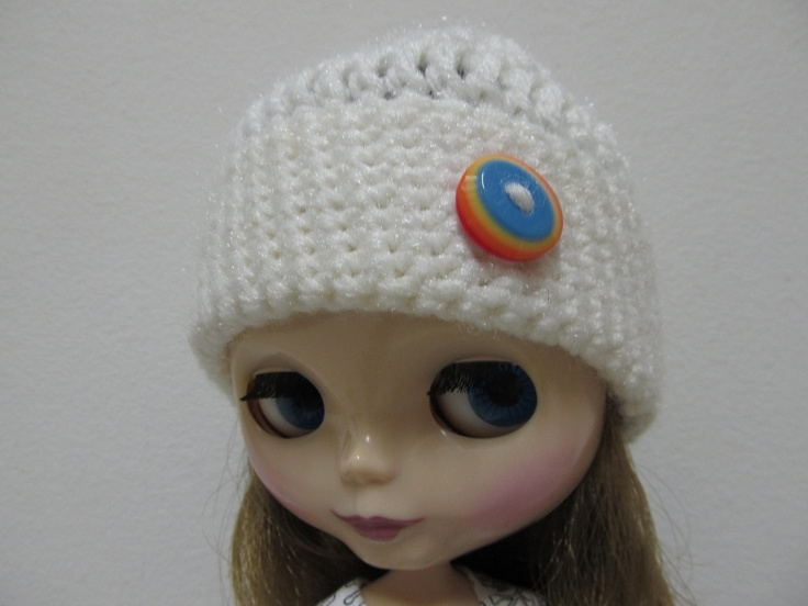 White Crochet Hat for Blythe With Rainbow Button Accent. $12.00, via Etsy.