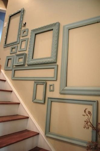 blue picture frames used for staircase wall decoration ideas
