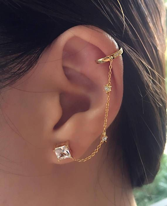 Gold Ear Cuff Chain Earrings Stud