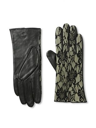 Carolina Amato Women's Lace Overlay Leather Gloves (Nude)