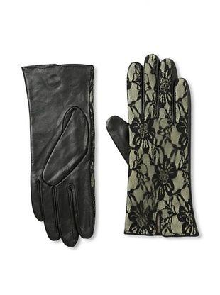 Carolina Amato Women's Lace Overlay Leather Gloves (Nude)