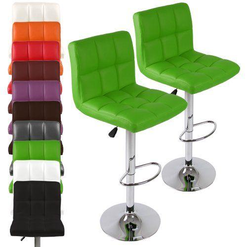 Miadomodo - LBHK01gn-2er - Conjunto de 2 taburetes de bar - Verde - Diferentes colores a elegir ✿ ▬► Ver oferta: https://cadaviernes.com/ofertas-de-taburete-alto-cocina/