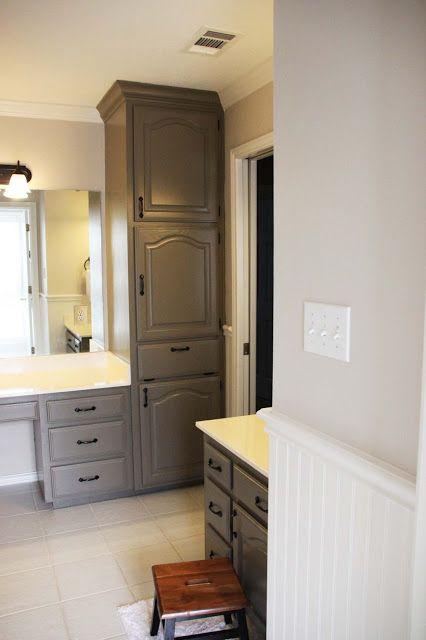 "Painting Oak Cabinets, ""Mountain Smoke"", kids bathroom ..."