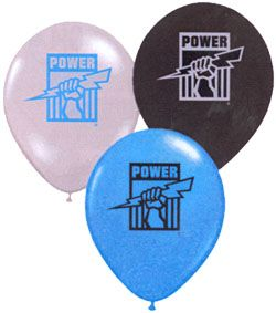 Port Adelaide party balloons in white black and blue with the team emblem printed on them. these guys have balloons for every AFL team for a birthday party or game day get together.