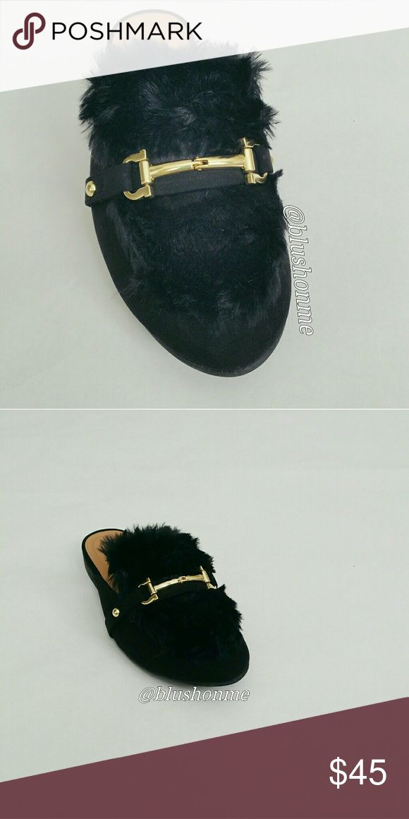 Furry Top Loafer Slipper @blushonme at Poshmark   Black Vegan Suede furry slipper, loafer   Soft and very comfortable.  True to size   ● PRICE IS FIRM ●  Note: Stock photos used to show similar style. Actual items are in pictures two and three. Shoes Flats & Loafers