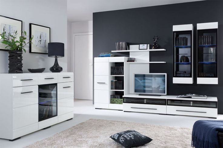 Design hoogglans witte woonkamer inclusief LED verlichting!
