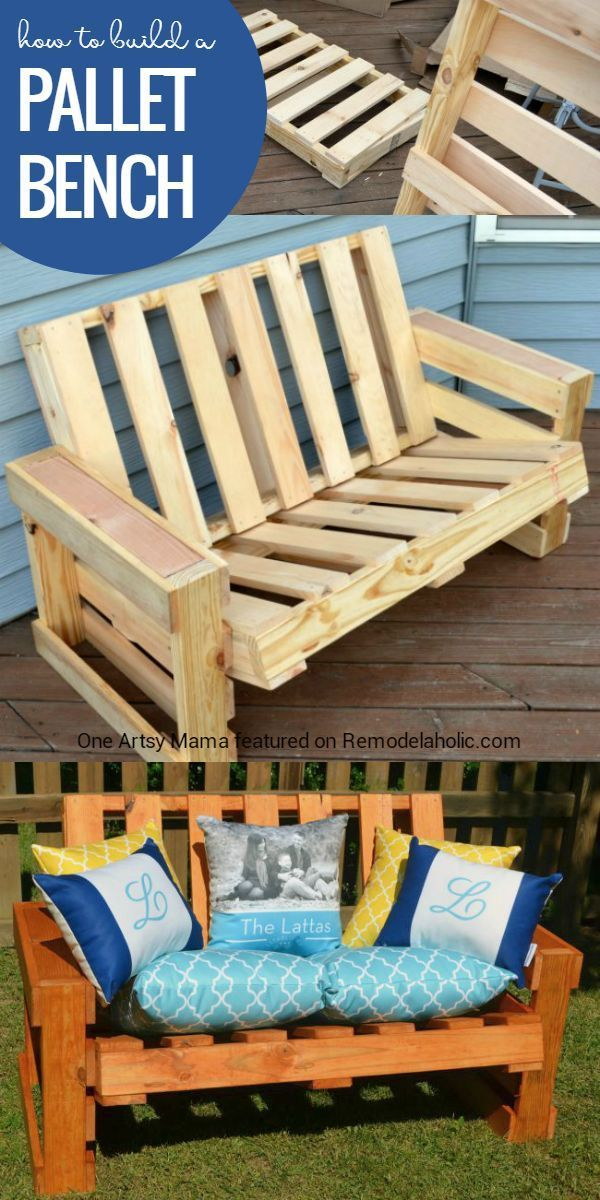 How to Build a Pallet Bench -- and it's easier than you think! Build one this weekend with the full tutorial from One Artsy Mama on http://Remodelaholic.com