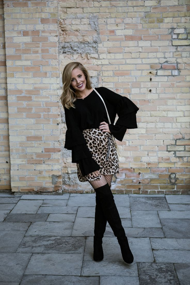 Black Ruffle Sweater, Leopard Skirt, Black Over-The-Knee boots, Fishnets #bloggerstyle #style #lifestyle #fashion #leopard #bloggerlife #personallypaige #overthekneeboots #blacksweater #style #shopping #shopmystyle #canadian #beauty #youtube