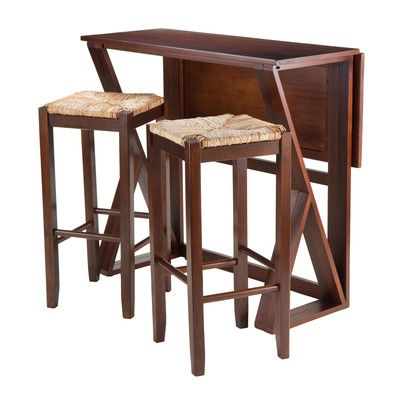 Winsome Trading Harrington 3 Piece Counter Height Dining Table Set With 29  In. Rush Seat Stools   The Winsome Trading Harrington 3 Piece Counter  Height ...
