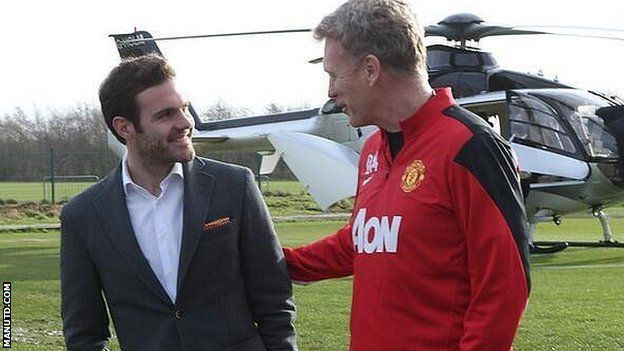 Juan Mata (left) and Manchester United manager David Moyes
