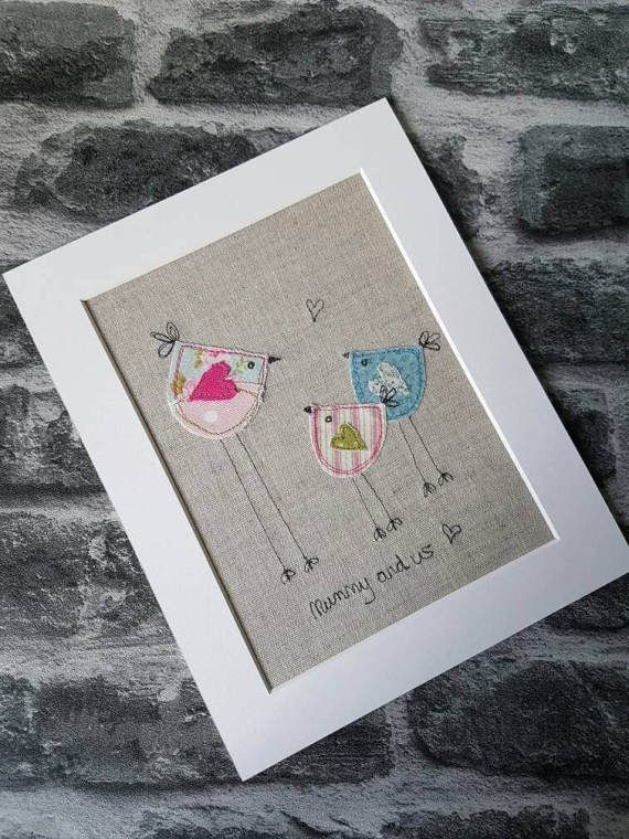 Original Textilkunst, Vogel Bild, Applique Kunst, Handarbeit, freie Bewegung, Maschinenstickerei, Muttertagsgeschenk, Mamas Geburtstagsgeschenk, einzigartige